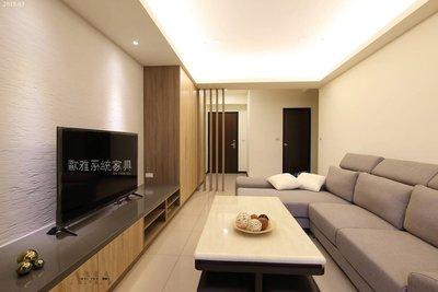 【歐雅系統家具】系統櫃結合異材質 珪藻土電視牆 格柵 玄關櫃 電視櫃 人造石檯面