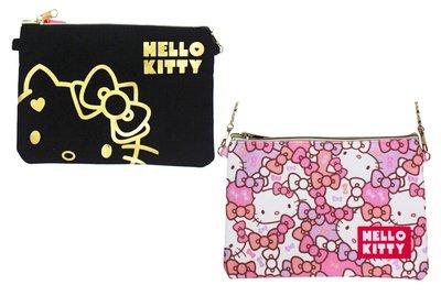 【卡漫迷】 Hello Kitty 收納袋 可觸控 帆布 剩粉色款 ㊣版 拉鍊 肩背 萬用包 智慧型手機 化妝包 側背包