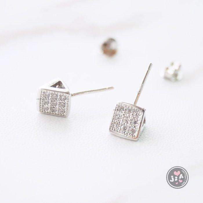 【Jia' s】滿鑽鋯石立體三角幾何純銀耳環耳針S925。正生純銀