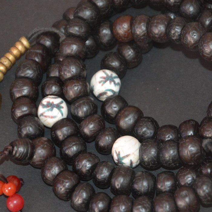 藏式尼泊爾天然鳳眼菩提108佛珠13-14mm念珠手串配銅金剛杵計數器