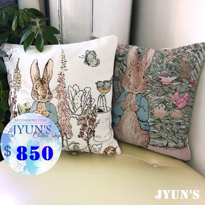 JYUN'S 新款出口日本卡通可愛彼得兔子系列方形抱枕靠墊枕頭棉麻*無枕芯 2款  預購