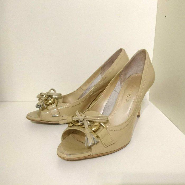 DIANA日本製 裸色魚口中高跟鞋 24 真皮漆皮  23.5~24cm
