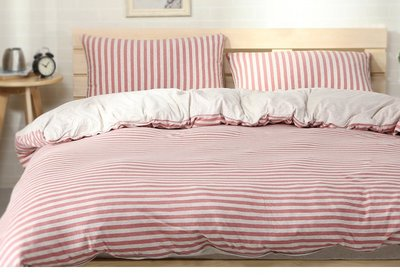#S.S 可訂製無印良品風格天竺棉純棉材質雙人床包單人床包組 棕紅色條紋 棉被床罩寢具 ikea hola muji