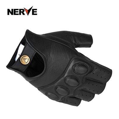 機車NERVE涅夫摩托車手套半指男女夏季復古機車騎行防摔護具騎士裝備手套