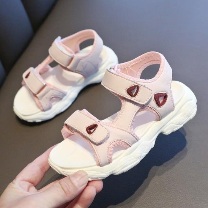 女童涼鞋2019新款夏季小公主運動中大童真皮軟底時尚百搭兒童涼鞋