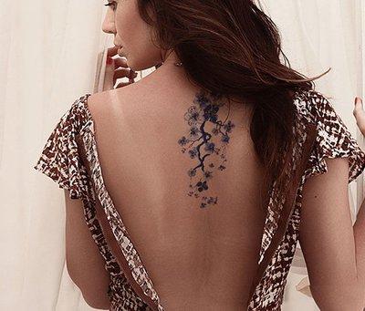 【萌古屋】紫藍花朵 - 男女防水紋身貼紙刺青貼紙AQ-004 K19