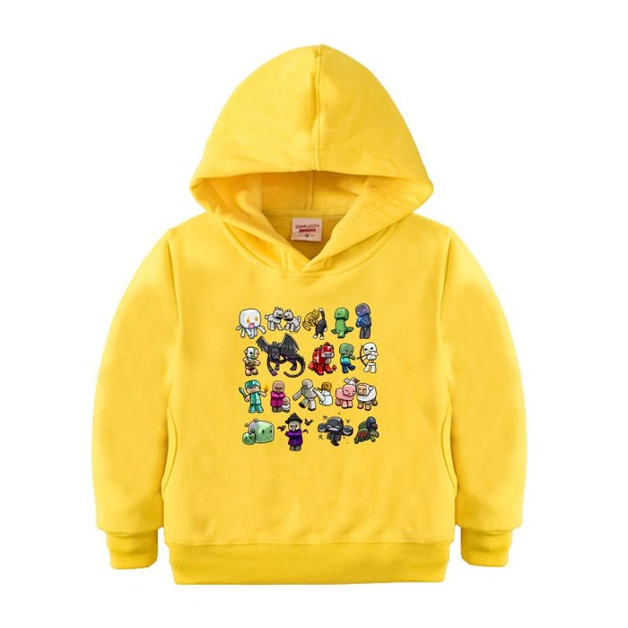 【童裝】韓版我的世界童裝男童黃色藍色百搭衛衣兒童連帽冬裝戴帽中大童女寶寶外套