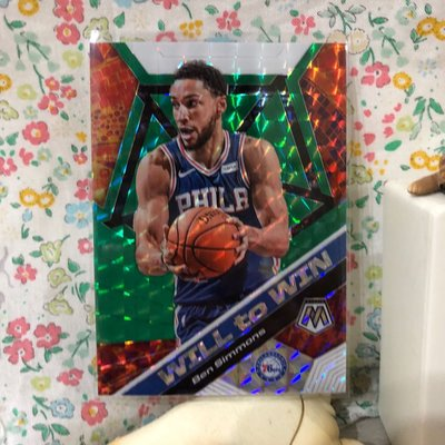 2019-20 Panini Mosaic 馬賽克 BEN SIMMONS Will To Win Green Prizm #15 76ers 特卡