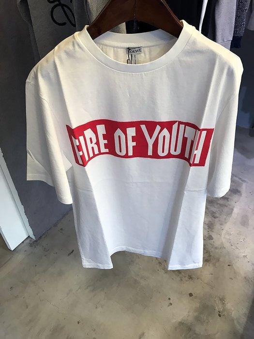 現貨【LOEWE】2017秋冬 FIRE OF YOUTH 文字 白色 短T恤 *45%OFF*