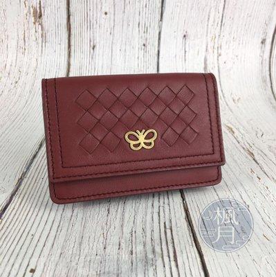 BRAND楓月 Bottega Veneta BV 酒紅 小羊皮 編織 五金 做舊 蝴蝶 短夾 錢包 錢夾 名片夾