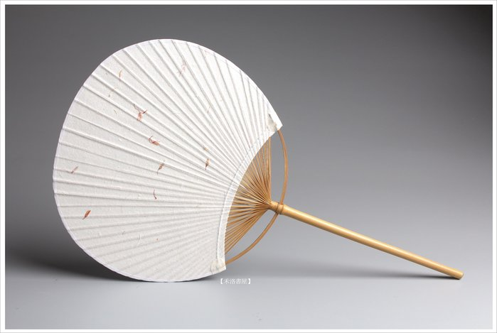 【禾洛書屋】日式白宣團扇〈手工紙紅花款〉宣紙扇面/空白紙扇子/竹藝扇/書畫創作專用