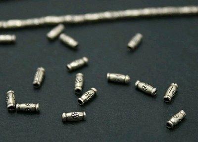 嗨,寶貝銀飾珠寶* 925純銀飾 DIY串珠配件☆925泰銀 5mm刻花紋小桶珠隔珠 小短管(較細款)