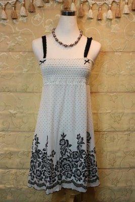 【性感貝貝】Baiter 專櫃 白色黑花涼感洋裝, 克萊亞張養真Pang Chi李卉羚 Jessica Sisley出清