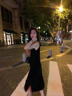 {彩衣閣} CHEER UP 針織吊帶連衣裙女中長款黑色內搭打底裙百搭背心長裙