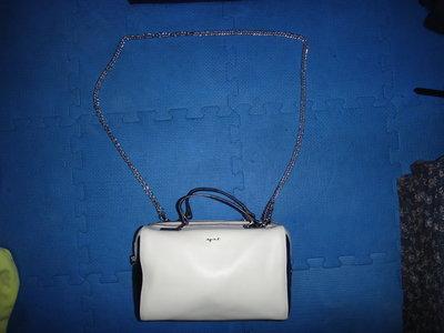 ~保證真品蠻新的 Agnes b. 黑白色真皮款手提包 斜背包 側背包~便宜起標無底價標多少賣多少
