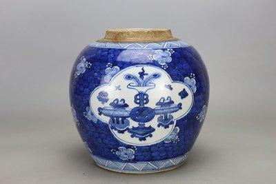 ㊣姥姥的寶藏㊣大清光緒青花冰梅博古紋茶葉罐古玩古董