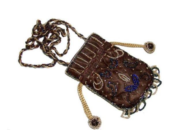 ☆創意小物店☆ 珠繡 手機袋/零錢包/小物收納 (咖啡色) 華麗風格、兩面圖案不一樣