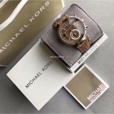 Michael Kors手錶 MK2424晶鑽皮革計時腕錶女錶/ 咖啡色(棕)/39mm