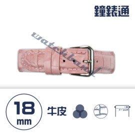 【鐘錶通】C1.07KW《繽紛系列》鱷魚壓紋-18mm 櫻花粉┝手錶錶帶/高質感/牛皮錶帶┥