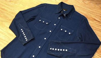 保證真品日本製JELADO ANTIQUE GARMENTS SHIRT藍色老派復古設計剪裁襯衫 刺し子車縫 珍珠貝扣