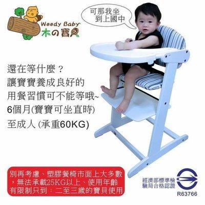 Woody Baby 嬰幼兒木製高腳餐椅-(H-115T純白色)-經濟部標準檢驗局合格認證 R63766木製兒童多功能椅