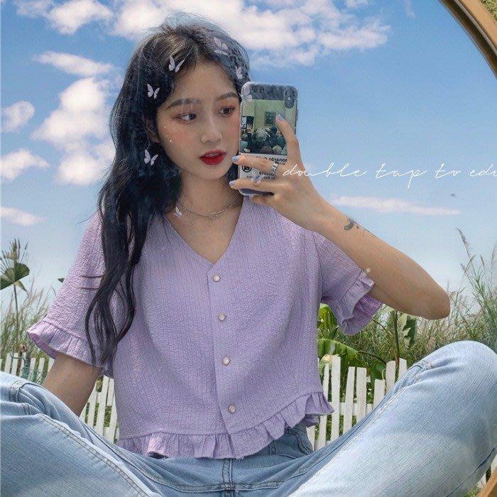 小香風 短袖T恤 時尚穿搭 紫色木耳邊V領上衣少女小清新 韓版 百搭喇叭袖襯衫收腰短款