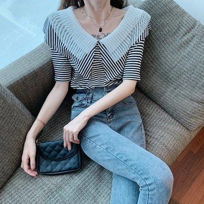 小香風 短袖T恤 時尚穿搭 女裝時尚大翻領拼接網紗荷葉條紋短袖 顯瘦 V領T恤上衣