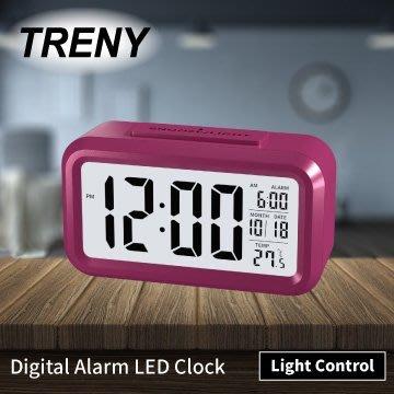 【TRENY直營】LED光控彩色鐘-粉紅 靜音時鐘 電子鐘 光感鬧鐘 貪睡 聰明鐘 LED鬧鐘 白色背光 HD-G-7
