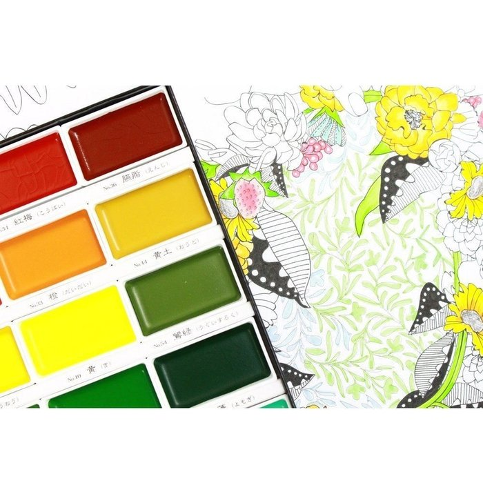 【Artshop美術用品】日本 Kuretake 吳竹 顏彩耽美 塊狀國畫顏料 (24色) MC20/24V