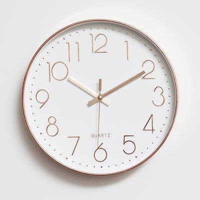 尼克卡樂斯~經典玫瑰金數字掛鐘 時尚 簡約 圓形靜音時鐘 餐廳掛鐘 咖啡廳時鐘 客廳臥室掛鐘 北歐風掛鐘