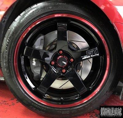 全新 ASGA A03 17吋鋁圈 亮黑紅 類GT 5孔100 5孔108 5孔114.3 4孔100 MX5 實裝圖
