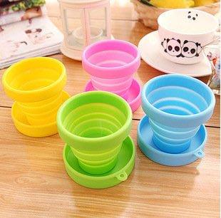 矽膠折疊杯子 可耐熱折疊水杯 多功能戶外旅遊便攜伸縮迷你彩色旅行杯