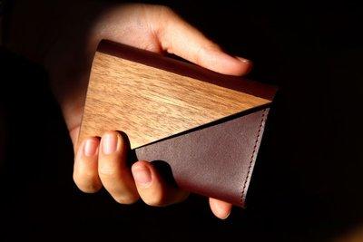 木皮革零錢名片夾
