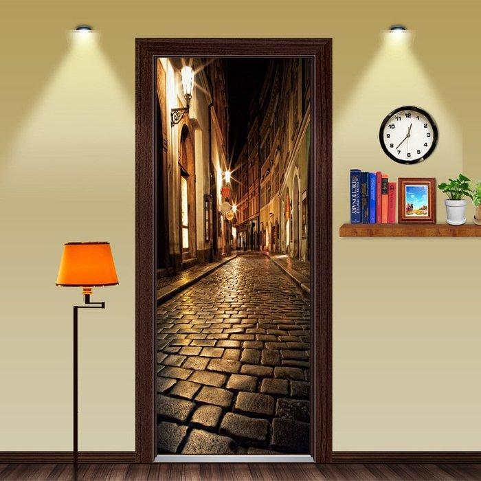 暖暖本舖 歐洲暗夜小巷門貼 創意裝飾貼 房間門貼 書櫃壁貼紙 大門造景貼 防水門貼 室內裝潢 玄關貼 風景貼 可訂製尺寸