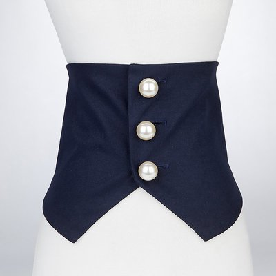 優良鋪子-新款時尚外穿馬甲布腰帶女寬裝飾連衣裙襯衫毛衣腰封格子黑色#韓版#配飾
