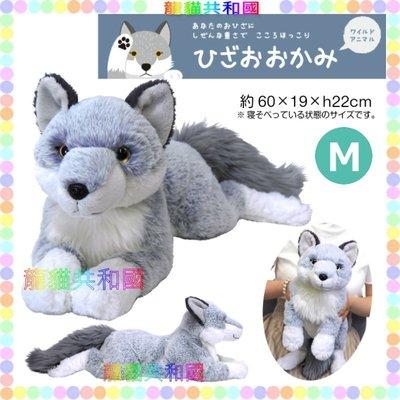 ※龍貓共和國※日本正版《SUNLEMON超療癒 仿真擬真 可愛寵物肉球 狼犬 哈士奇  絨毛娃娃 玩偶M號60公分》
