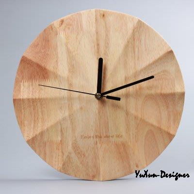 無印風質感原木浪型壁掛鐘 創意圓型原木時鐘 簡約時尚美式鄉村靜音機芯個性設計 天然環保極簡 宥薰設計家