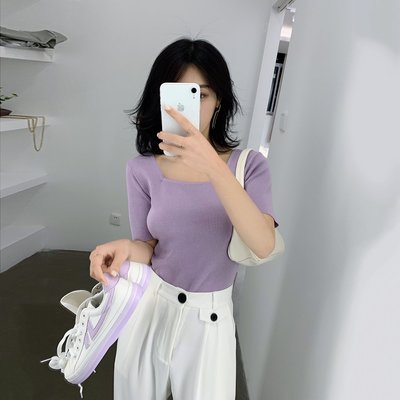 oops market韓國女裝 彬ge大錶姐方領短袖T恤女2020年新款正韓設計感漏鎖骨打底衫上衣
