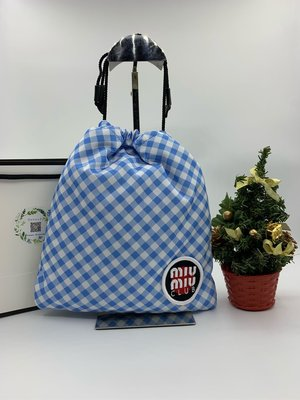 特價Miu Miu blue Club Patch Gingham Pouch