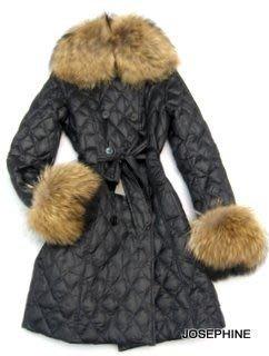 喬瑟芬【LOU ANDREA】特價~可拆式 RACCOON浣熊皮草 長版羽絨 外套/大衣(S,M號)~MADE IN FRANCE