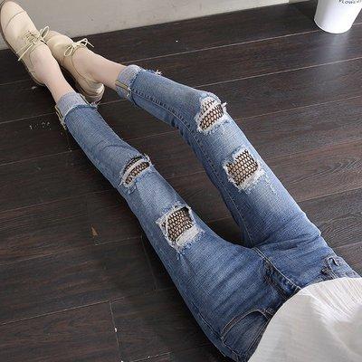 牛仔褲 九分褲 小腳褲 百搭 顯瘦 魚網破洞牛仔褲女新款潮春款時尚夏天九分褲子爛牛仔褲女破洞