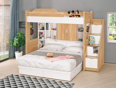 【現金分期】 C17001 多功能 上下舖 雙層床 兒童床 單人床 兒童家具 衣櫃  收納櫃