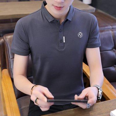 男士短袖t恤襯衫領夏季新款潮流韓版半袖男裝翻領POLO衫上衣 POLO衫 男士衣著 短袖 大尺碼 素面衫