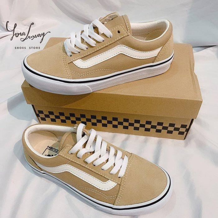 【Luxury】現貨一雙 vans old skool 奶茶色 帆布 麂皮 綁帶 女鞋 正品