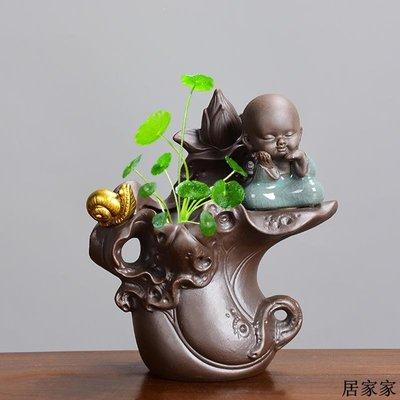 花盆 花器 陶瓷擺飾 陶瓷哥窯紫砂描金桌面綠蘿銅錢草菖蒲紅掌專用水培創禪意組合花盆