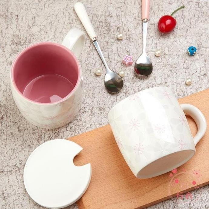 馬克杯櫻花陶瓷馬克杯帶蓋勺情侶杯子簡約牛奶創意早餐咖啡杯辦公室水杯海淘吧/海淘吧/最低價DFS0564