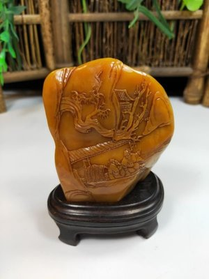 印尼金田黃 金凍石 壽山石精品 篆刻工藝品 印章 薄藝山水