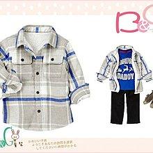 【B& G童裝】正品美國進口Crazy8內軟毛保暖法蘭絨灰色長袖格子襯衫2yrs