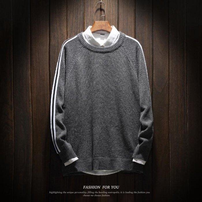 【免運】套頭毛衣外套長袖針織衫 男士加肥大尺碼胖子正韓潮男裝