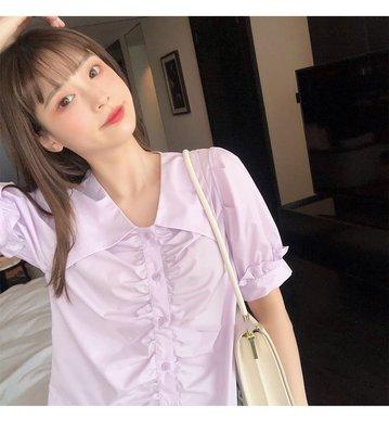❤Princess x Shop❤娃娃領褶皺襯衫設計感甜美木耳邊泡泡袖襯衫夏短款少女T恤TJN9-49-2韓國同款女裝